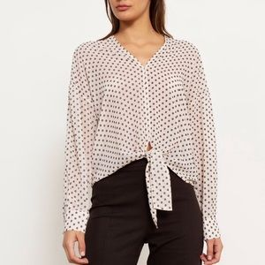 Modern Citizen | Crop Tie Dot Pattern Blouse